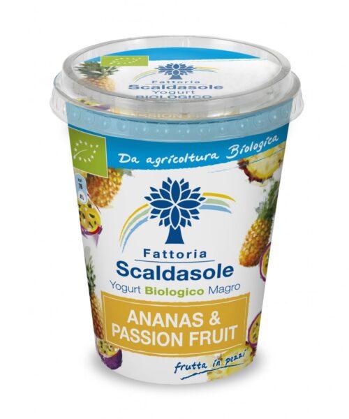 l frutto della passione e l'ananas nello Yogurt Biologico Magro Scaldasole (400g)
