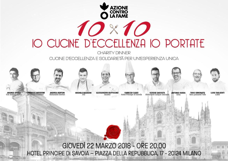 10 chef x 10 portate: a Milano una cena all'insegna della solidarietà