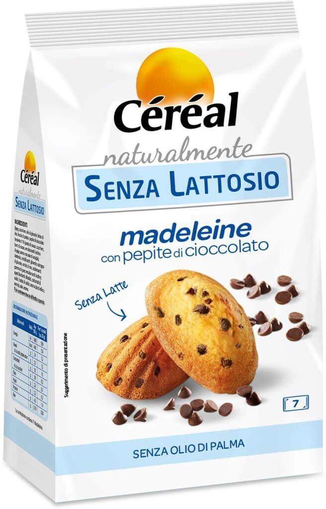 Madeleine con pepite al cioccolato della linea Céréal, morbide e buone come quelle di pasticceria