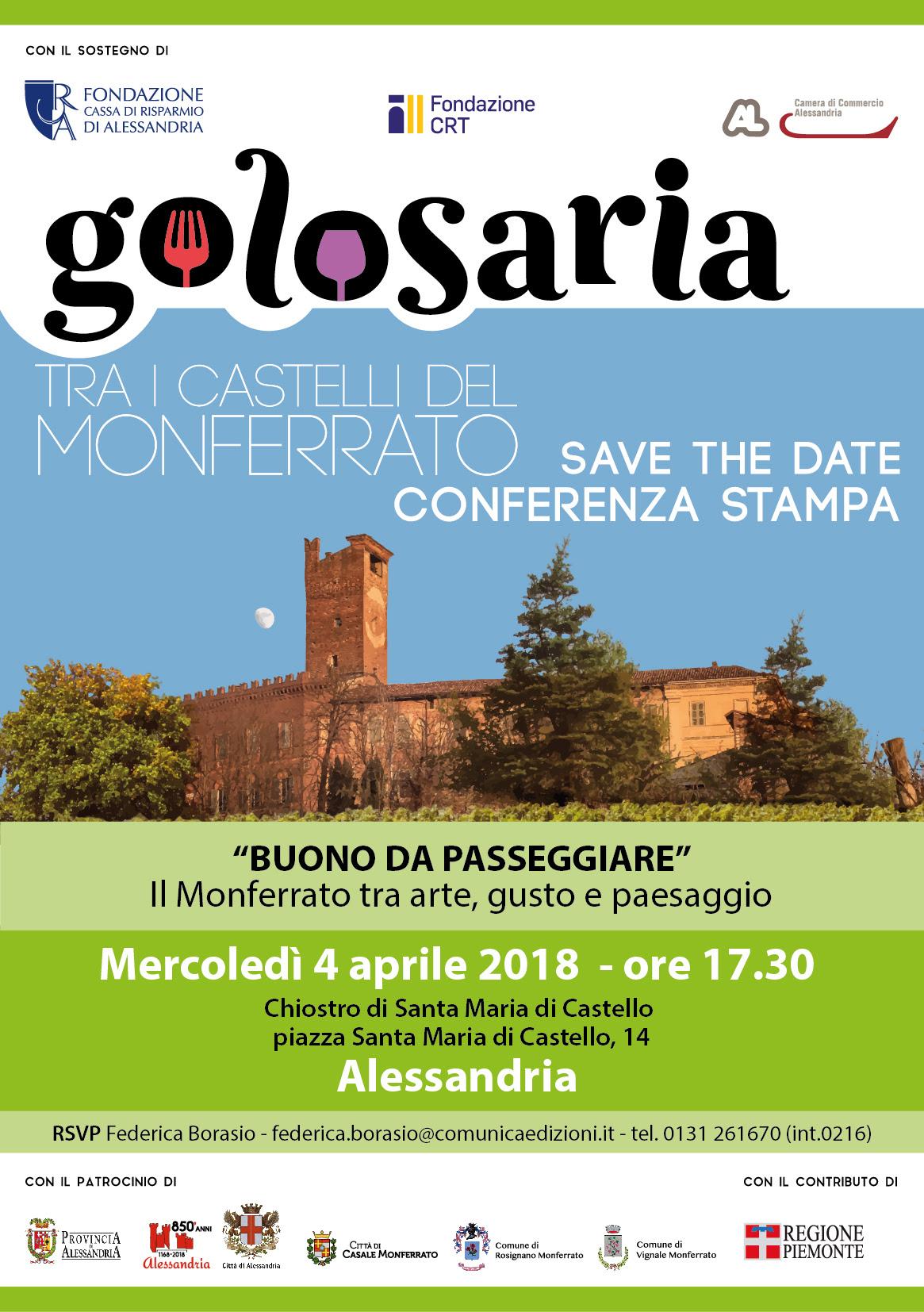 Sabato 7 e Domenica 8 Aprile torna Golosaria Monferrato