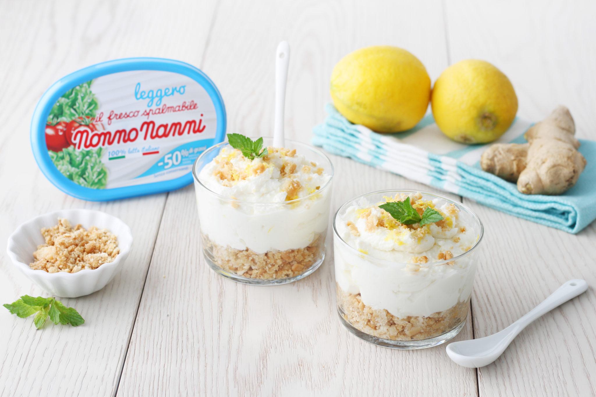 Nonno Nanni cheesecake con Fresco Spalmabile Leggero, zenzero, menta e scorze di limone
