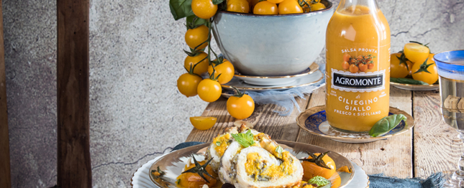 Girelle di pesce spatola alla siciliana conSalsa pronta di Ciliegino giallo Agromonte
