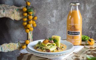 Paccheri con Passata di Pomodoro e Ciliegino giallo Agromonte e pesto di broccoli siciliani