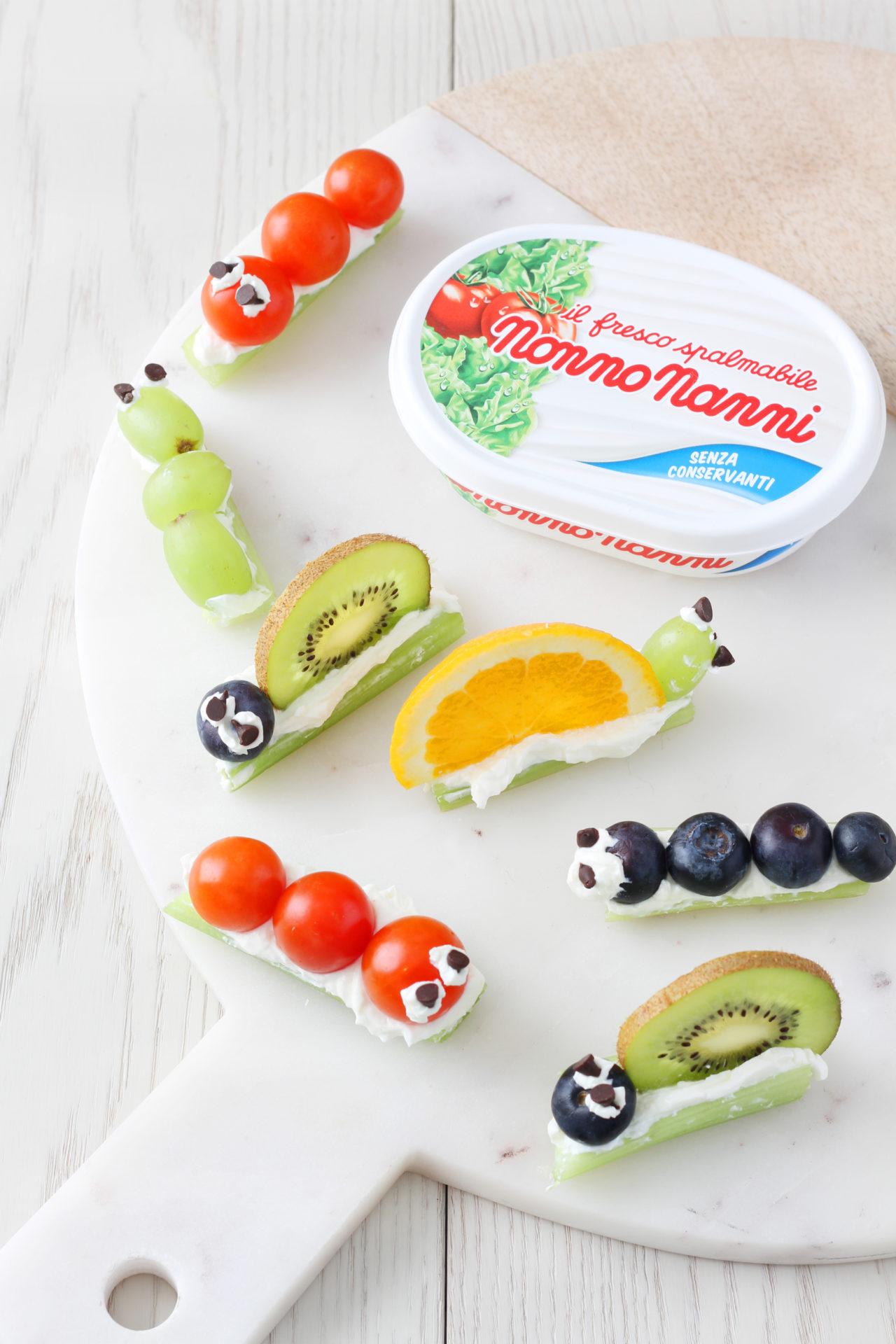 Con Fresco Spalmabile Nonno Nanni divertenti bruchetti e lumachine di frutta e verdura