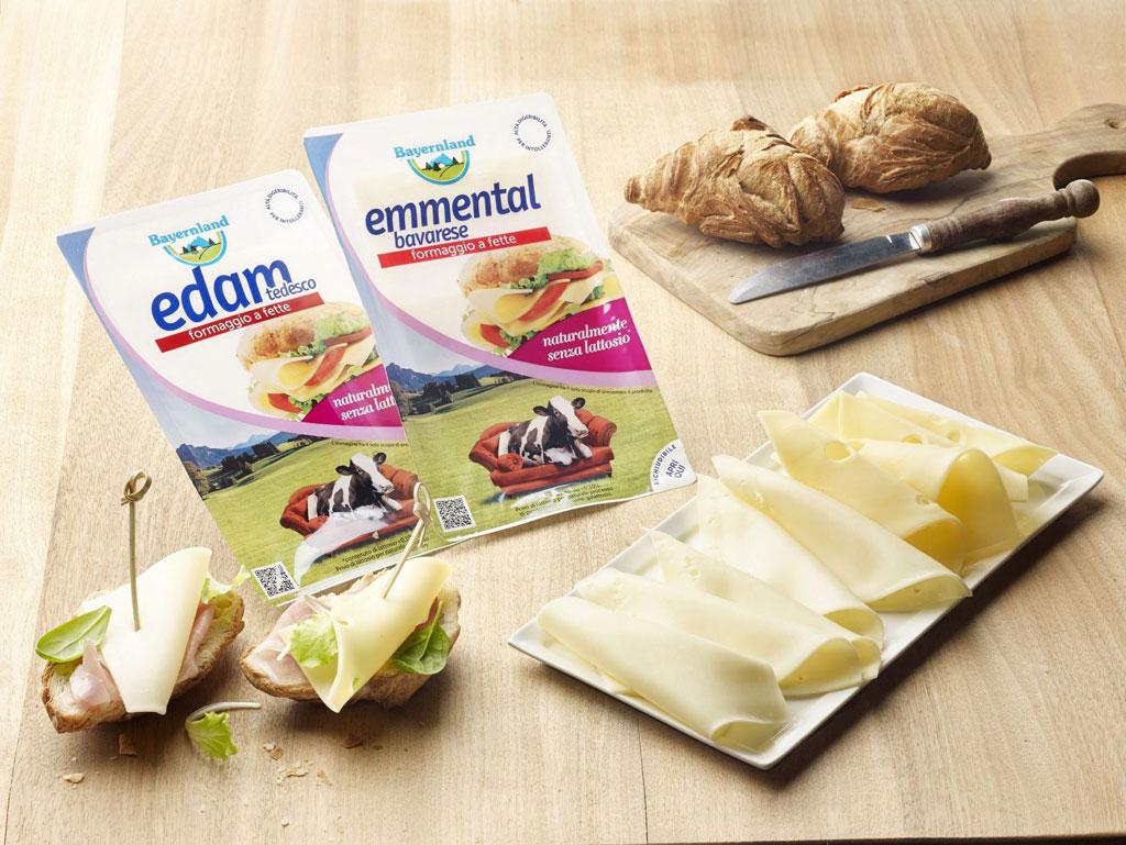 Bayernland: i formaggi affettati Edam ed Emmental senza lattosio!