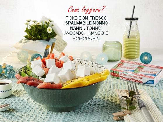 Poke con Fresco Spalmabile Nonno Nanni, tonno, avocado, mango e pomodorini
